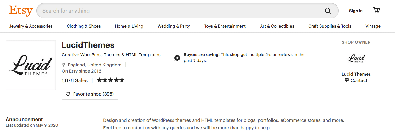 Etsy Lucid Themes WordPress Themes