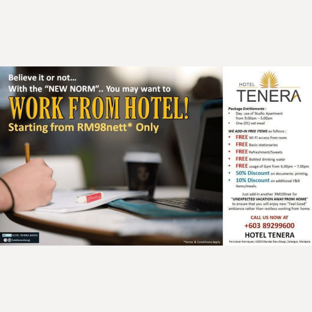 Hotel Tenera Bangi Work From Hotel Selangor