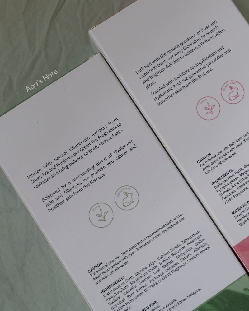 Reverie Touch Rubber Mask Green Tea & Rosy Glow Info