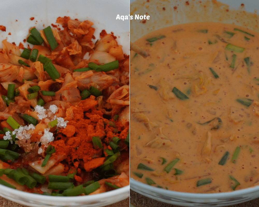Before & after Kimchi Pancake Aqa's Note